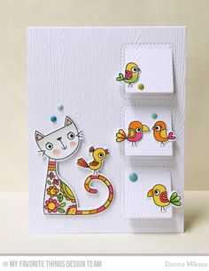 Purr-fect Friends Stamp Set and Die-namics, Things With Wings Stamp Set, Stitched Interactive Window Trio - Vertical Die-namics - Donna Mikasa  #mftstamps