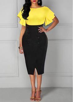 Yellow And Black Midi Pencil Dress Front Slit Button Detail Sheath Dress Party Dress Sale, Club Party Dresses, Sexy Dresses, Dresses For Sale, Casual Dresses, Sheath Dresses, Trendy Dresses, Colour Blocking Fashion, Latest Dress For Women