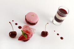 Beyond Amuse-Bouche Gorgeous Dessert Features Macaron Macaron à la crème de vanille de Bora Bora et cerises rôties, sorbet griotte par le Chef Pâtissier Emmanuel Lebled