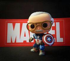 Stan Lee as Captain America. Comes shipped in original Stan Lee funko pop box.
