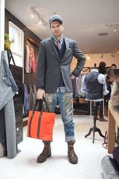 Our visit to the Ernest Alexander showroom. Dolan Geiman with the Aiden Orange Wax Utility Tote.