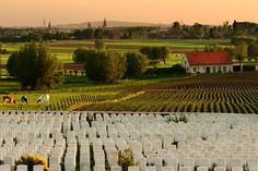 Tyne Cot Cemetery, farms and Ieper (Ypres) in the background - travel and landscape photography by Aaron Beddes