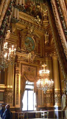 Interior, Palais Garnier, Paris - the height of the hall provides so much detail and information in just one small picture.