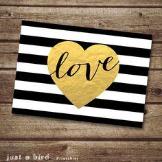 Modern valentine card 5x7 valentine printable, black and white striped gold heart love