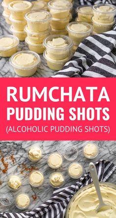 Vanilla Pudding Shots, Rumchata Pudding Shots, Pudding Shot Recipes, Jello Pudding Shots, Jello Shot Recipes, Alcohol Drink Recipes, Jello Shots, Vanilla Pudding Recipes, Rumchata Recipes Shots