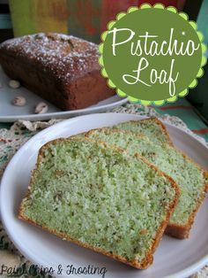 Perfect Pistachio Loaf for St Patty's Day!. Made using a cake mix and pistachio pudding - couldn't be easier!!