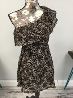 Cheetah Print Everly One Shoulder Size Small Dress  | eBay