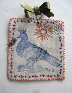 Image of Mr Pigion hand stitched brooch Jessie Chorley