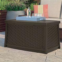 Deck Storage Box Brown End Table Patio Chest Trunk Plastic Wicker Furniture  Yard   Home U0026