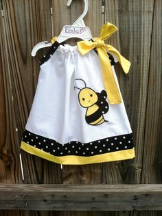 Beautiful Bumble bee pillowcase dress .