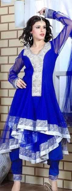 $229.27 Blue Net Anarkali Suit 16628