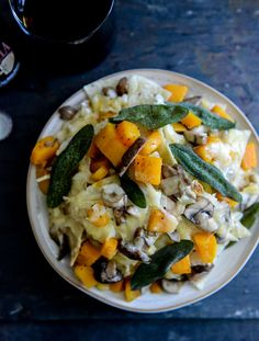 Spiced Butternut Squash, Garlic Butter Mushroom and Fontina Nachos with Crispy Sage I howsweeteats.com