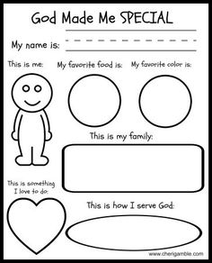 God made me special printable – fill this out and mail it to the child you spons… God made me special printable – fill this out and mail it to the child you sponsor. Send a blank copy and ask your sponsored child to share how God made them special. Sunday School Activities, Church Activities, Sunday School Crafts, Bible Activities For Kids, Bible School Games, Preschool Bible Activities, Kindergarten Sunday School, Sunday School Kids, Group Activities