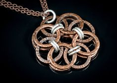 silver copper pendant antiqued copper necklace by raflsjewelry