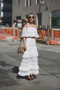 bohemian chic in white on the streets in New York.
