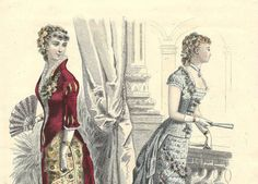 French victorian fashion plates poster 1880s - crinoline - chromolithography