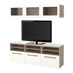 BESTÅ TV storage combination/glass doors - walnut effect light gray/Marviken white clear glass, drawer runner, soft-closing - IKEA