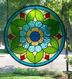 """Round Stained Glass Window Panel...""""Flower Power""""... - Delphi Artist Gallery"""
