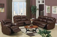 Leather Sofa set In Rich Brown 3 pc Living room Furniture In Luxury Style #F7731