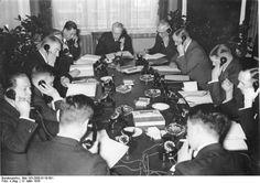 German officials Alfred Rosenberg, Paul von Rübenach, and Konstantin von Neurath in Berlin speaking with Japanese counterparts in Tokyo, 12 Mar 1935