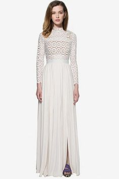 White Mock Neck Openwork Lace Spliced Maxi Dress