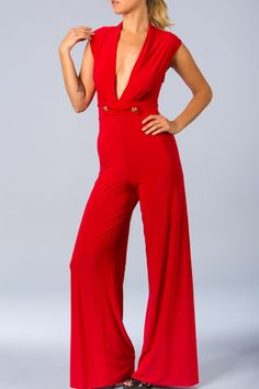Coral Jumpsuit With Flower Detail On Neck And Pleated Wide Leg ...