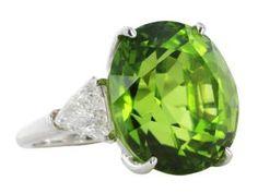 Platinum 20.36ct Peridot & Diamond Three Stone Ring