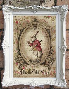 Alice in Wonderland Altered Art Illustration and by OldStyleDesign, $15.00