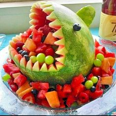 A fruit shark made of watermelon!