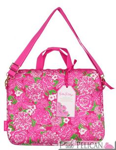 Laptop Tote With Shoulder Strap In May Flowers | The Pink Pelican