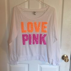 ❗️❗️SALE❗️❗️Victoria's Secret bling shirt New condition, worn one time. Pink and orange sequins and white color ( slightly see through) good for layering. No trades! PINK Victoria's Secret Tops Tees - Long Sleeve