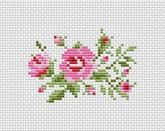 Scheme for cross stitch- Rose - Cross stitch pattern. This is a digital Cross stitch pattern that you can instantly down Cross Stitch Art, Cross Stitch Borders, Simple Cross Stitch, Cross Stitch Designs, Cross Stitching, Cross Stitch Embroidery, Cross Stitch Patterns, Cross Stitch Flowers Pattern, Learn Embroidery