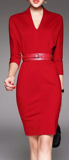 V Neck Belted Work Dress