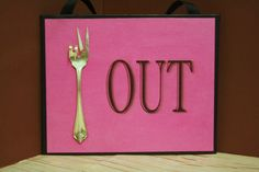 "Upcycled ""Peace Out"" Sign...Upcycled silverware art...Foodies gift...office gift...hippie love...vintage silverware usage (15.00 USD) by SilverBellesCrafts"