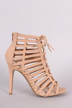 Anne Michelle Nubuck Caged Lace Up Stiletto Heel – Style Lavish