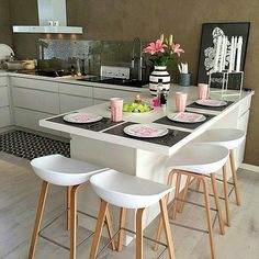 Cheer Up Your Breakfast Time with 6 New Kitchen Counter Stools – Bar Stools Furniture Home Decor Kitchen, Kitchen Living, Kitchen Interior, New Kitchen, Home Interior Design, Home Kitchens, Kitchen Ideas, Interior Decorating, Modern Kitchens