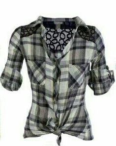 Love the added lace on this plaid shirt