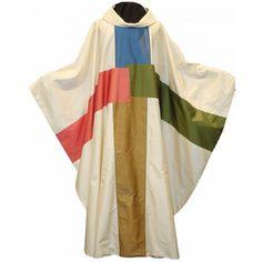 Seidenkasel - cremefarben mit 4-farbigem Kreuz - Messgewänder