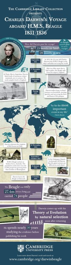 Infographic detailing Charles Darwin& voyage aboard HMS Beagle - Darwinism and Evolution - Biology Lessons, Science Biology, Teaching Biology, Science Lessons, Life Science, Science And Nature, Science Resources, Darwin Evolution, Theory Of Evolution