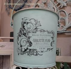 Old bucket with reverse mod podge transfer