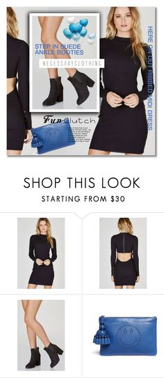 """""""necessaryclothing.com"""" by svijetlana ❤ liked on Polyvore featuring Anya Hindmarch, clutches, polyvoreeditorial and suedeboots"""