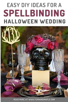 Are you and your significant other spellbound by each other? Create the perfect spooky and classy Halloween themed wedding reception with these easy DIY decor ideas from fernandmaple.com!