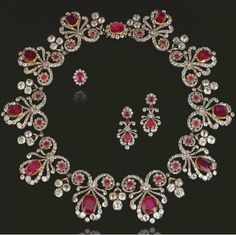A beautiful diamond and ruby tiara necklace combination, formerly the property of Major Hon. Bernard Clive Pearson. Unfortunately not shown on its tiara frame. Sold via Sotheby's in 2008, for CHF385,000.