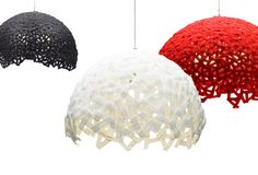 ...Velcro lampshade, simple and you can shape it...Face to Face lamp by Luiseslava Studio