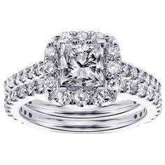 14k or 18k White Gold 2 1/3ct TDW Halo Princess-cut Diamond Engagement Bridal Set (14k Gold - Size .0) Women's