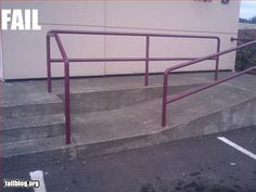 Wheelchair Ramp Fail in a big way.  Dude you can't end a ramp with a step.