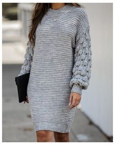 Life Is Gourd Chunky Knit Sweater Dress - FINAL #chunky #sweater #dress #chunkysweaterdress  Fall vibes come alive in the Life is Gourd Chunky Knit Sweater Dress! Crafted in a grey ribbed knit that's intended to fit relaxed throughout. The chunky bubble knit long sleeves are the star of this sweater dress and truly upgrade the look. Style yours with ankle booties and a matching clutch for a trendy Fall look! Sweater Dress Outfit, Long Sweater Dress, Legging Outfits, Ribbed Knit Dress, Long Sweaters, Chunky Sweaters, Knit Sweaters, Knit Fashion, Cute Casual Outfits
