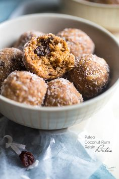 Paleo Coconut Rum Raisin Energy Balls - A quick and easy snack that are ready in only 10 minutes! A healthy, high protein and gluten free taste of the tropics to give you an energy boost!   Foodfaithfitness.com   @FoodFaithFit