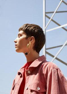 Beaded metallic earring