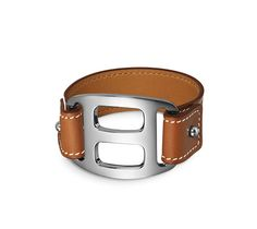 "Pagode Hermes leather bracelet (size S) Barenia calfskin  Palladium plated hardware, 6.7"" circumference Color: natural"